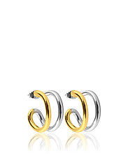 Two tone hoops S - GOLD