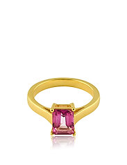 Emerald-cut ring S - GOLD/ PINK