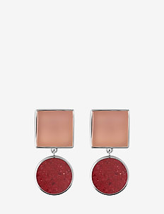 Irregular stone earrings - RED