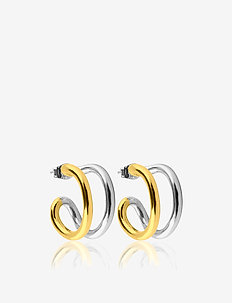Two tone hoops S - statement - gold
