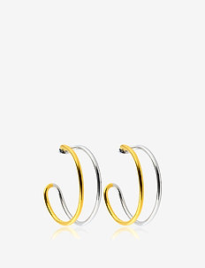 Two tone hoops M - statement - gold