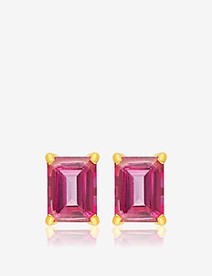 Emerald cut studs - GOLD/PINK
