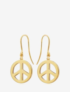 Peace hook earrings - pendant earrings - gold