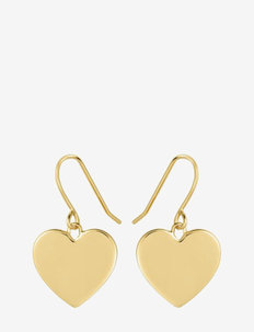 Heart hook earrings - pendant earrings - gold