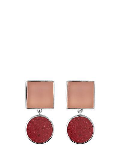 Irregular stone earrings - RED