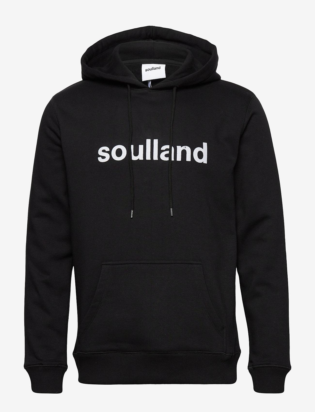 Soulland - LOGIC GOOGIE HOODED SWEAT W. FRONT FLOCK PRINT - pulls a capuche - black - 0