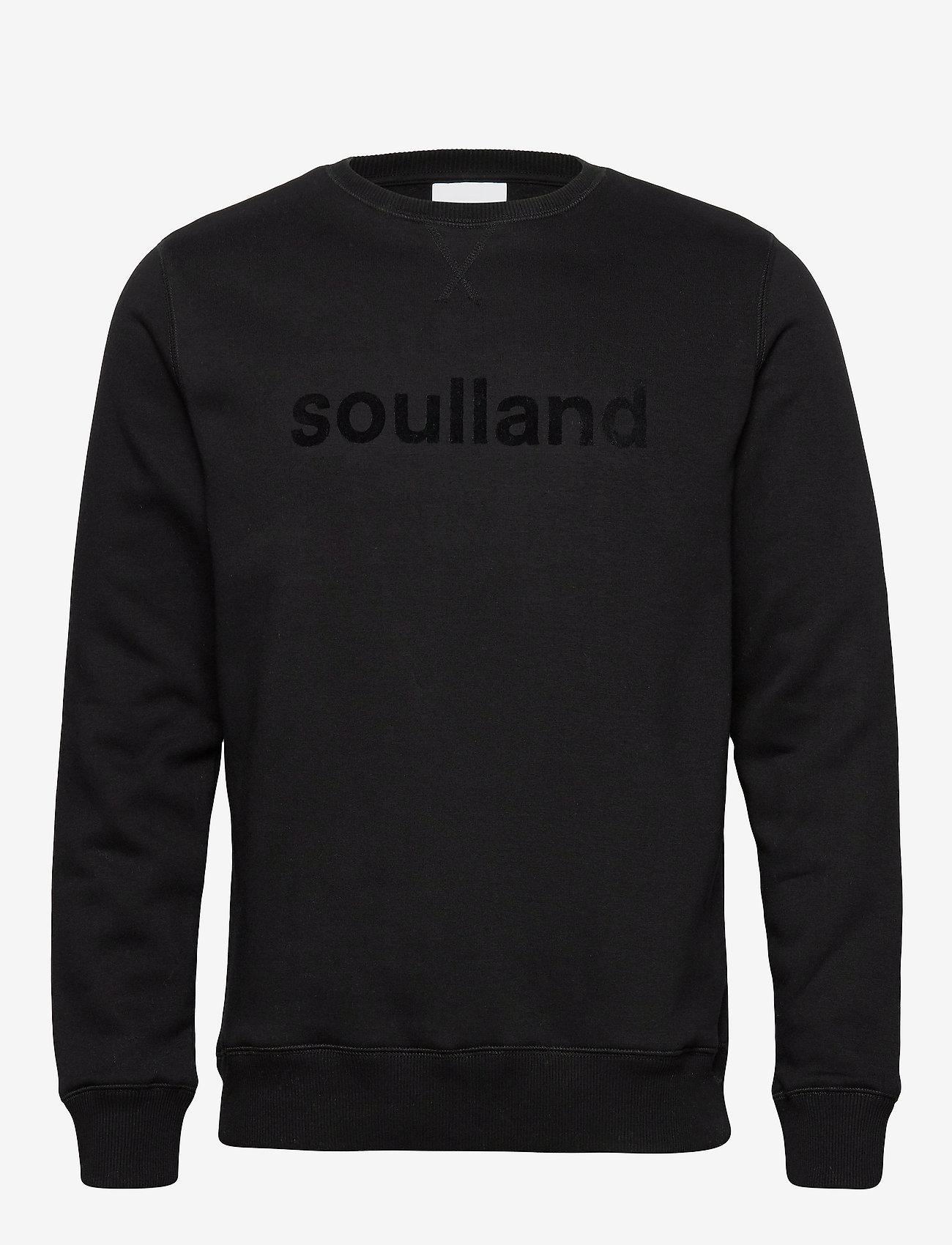Soulland - LOGIC WILLIE SWEAT W. FRONT FLOCK PRINT - sweatshirts - black - 0