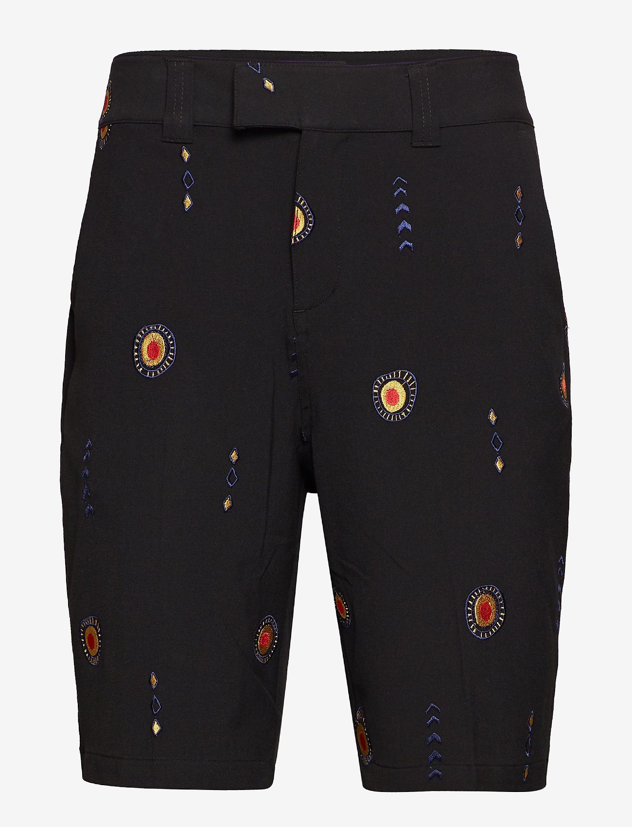 Soulland - DAVIDOV BAGGY SHORTS W. EMBROIDERIES - tailored shorts - black