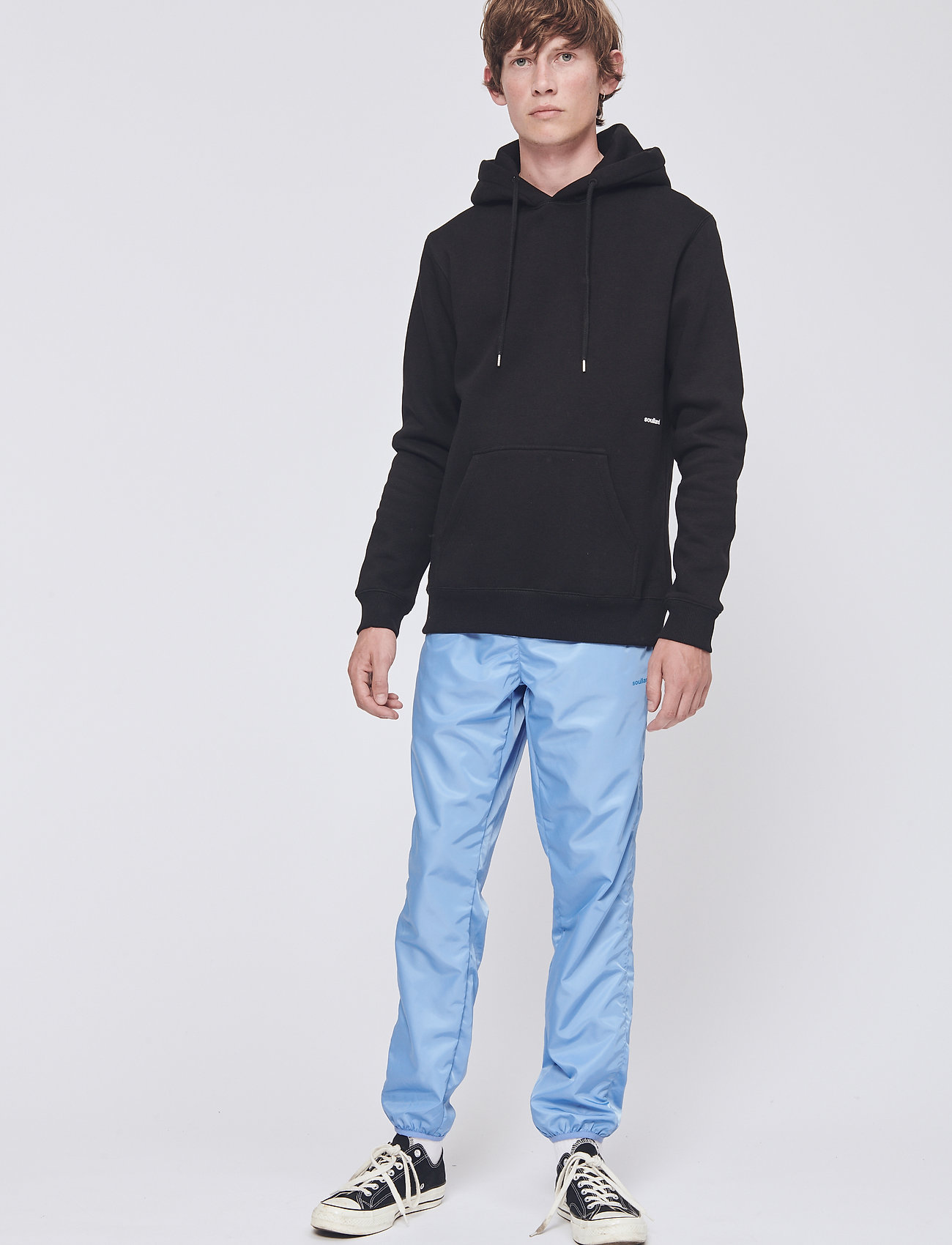 Soulland - LOGIC WALLANCE HOODED SWEAT W. FRONT PRINT - sweats basiques - black - 0