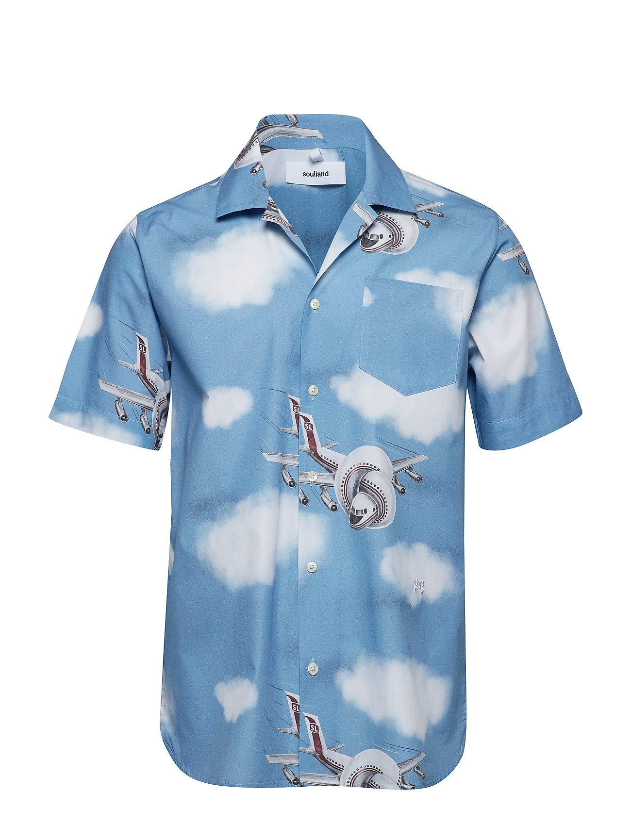 Soulland CORNWALL ALL OVER PRINTED SHORT SLEEVE SHIRT - BLUE