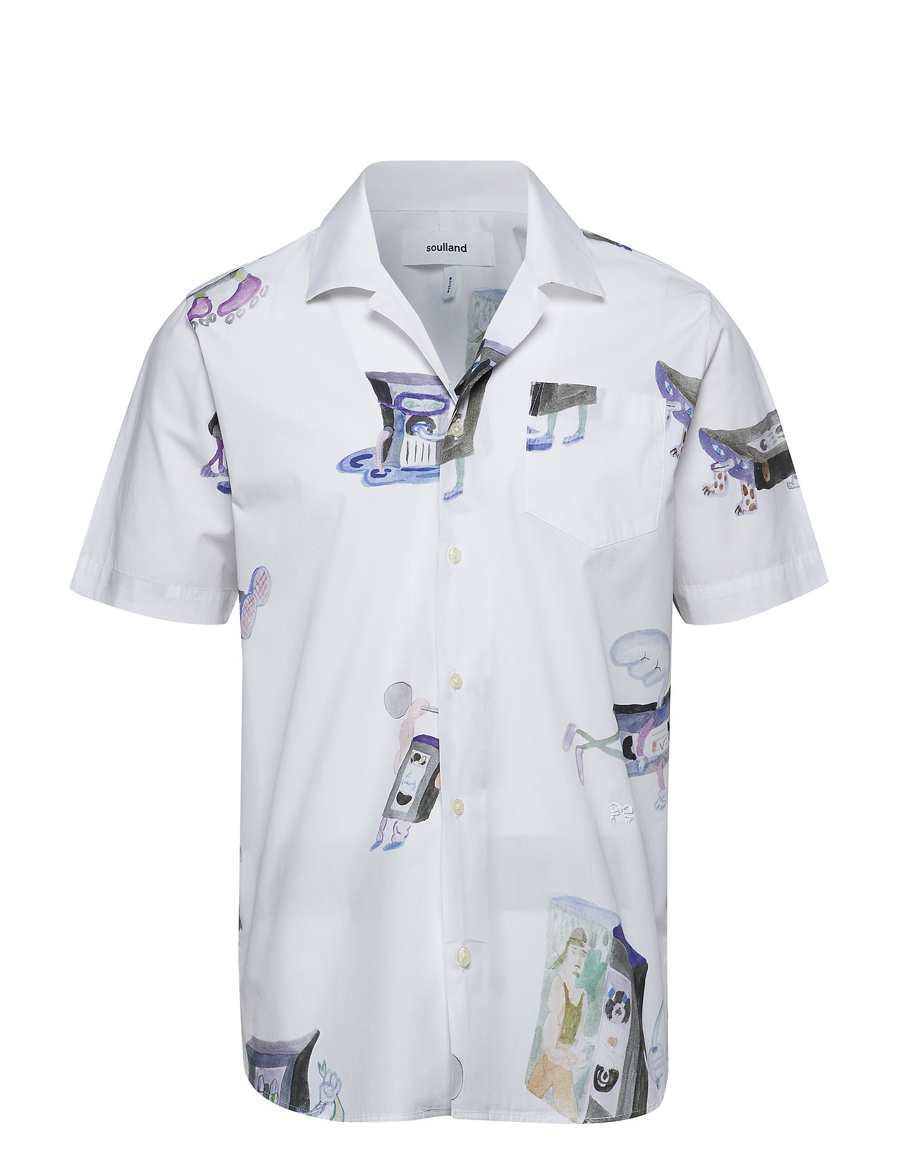 Soulland CORNWALL ALL OVER PRINTED SHORT SLEEVE SHIRT - MULTI