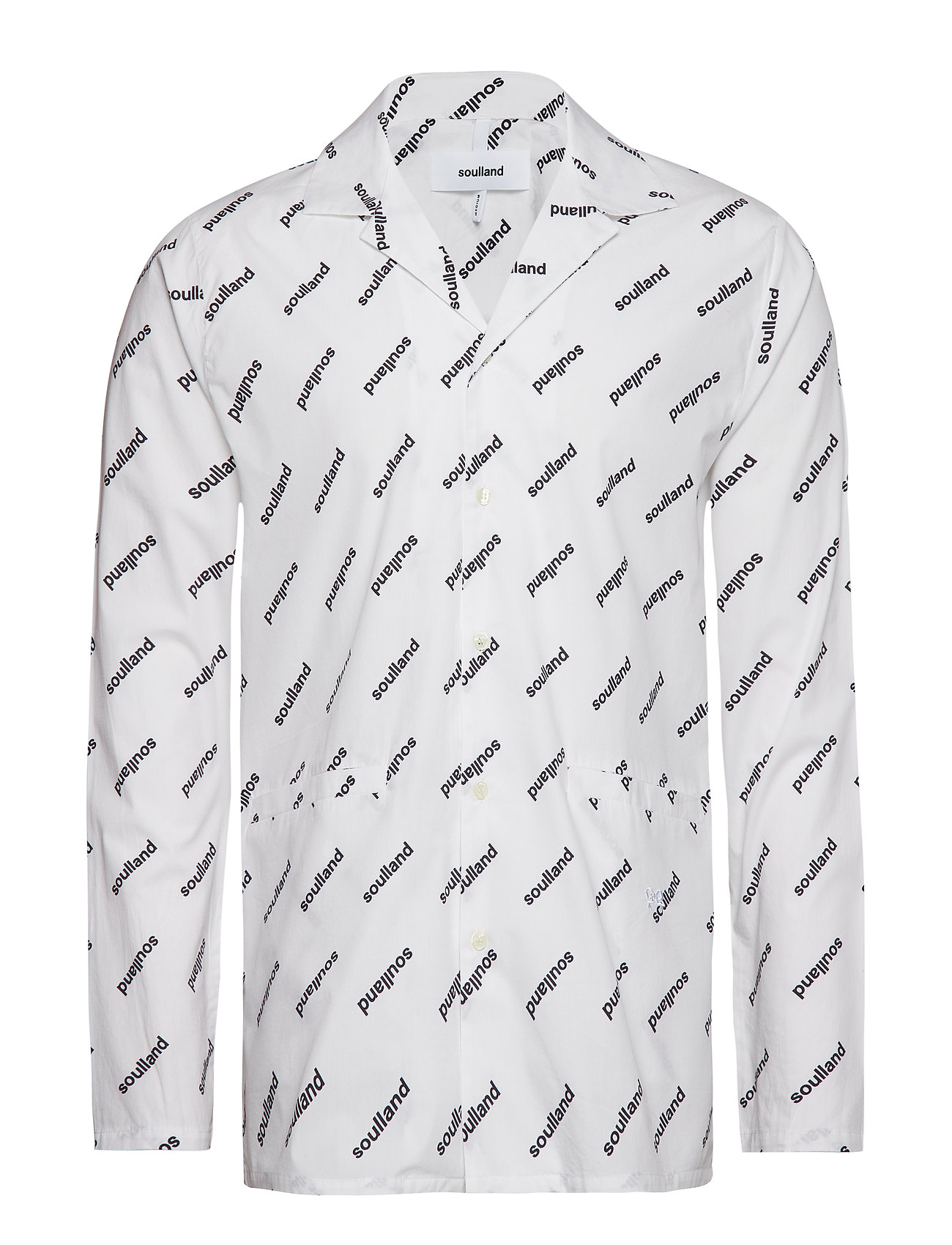 Soulland STARLING ALL OVER PRINTED BOWLING SHIRT - WHITE