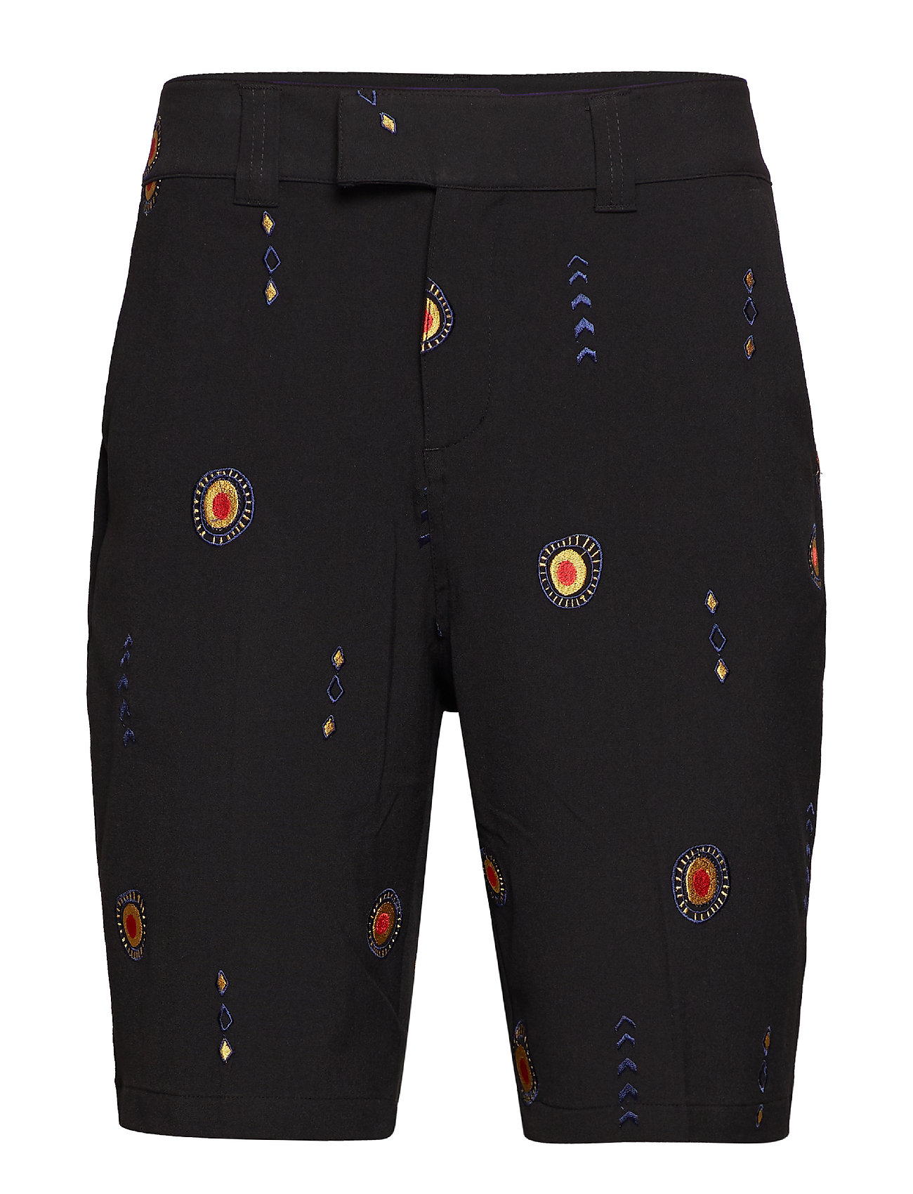 Soulland DAVIDOV BAGGY SHORTS W. EMBROIDERIES - BLACK