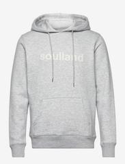 Soulland - LOGIC GOOGIE HOODED SWEAT W. FRONT FLOCK PRINT - pulls a capuche - grey melange - 0
