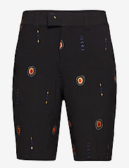 Soulland - DAVIDOV BAGGY SHORTS W. EMBROIDERIES - tailored shorts - black - 0