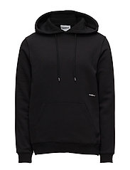 NOS WALLANCE HOODED SWEAT W. FRONT PRINT - BLACK