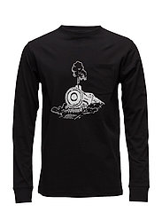 Woltz t-shirt w.long sleeves and print - BLACK