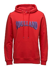 Janson Sweat w. hoodie and front print - RED