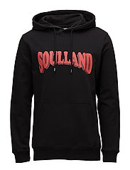 Janson Sweat w. hoodie and front print - BLACK
