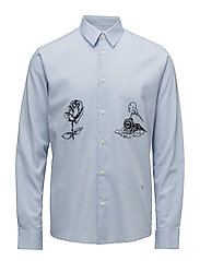 Marvin shirt w. embroidery - BLUE