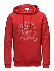 PF18 APRIL BALDIE HOODED SWEAT W. FRONT POCKET AND PRINT - RED