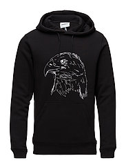 PF18 APRIL BALDIE HOODED SWEAT W. FRONT POCKET AND PRINT - BLACK