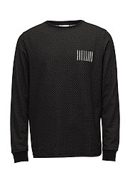 AW18 ROCKET DOTTED LONG SLEEVE T-SHIRT W. EMBROIDERY AND PRI - BLACK/WHITE