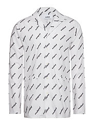 STARLING ALL OVER PRINTED BOWLING SHIRT - WHITE