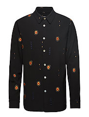MAX SHIRT W. ALL OVER EMBROIDERY - BLACK