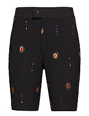 DAVIDOV BAGGY SHORTS W. EMBROIDERIES - BLACK