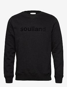 LOGIC WILLIE SWEAT W. FRONT FLOCK PRINT - sweatshirts - black