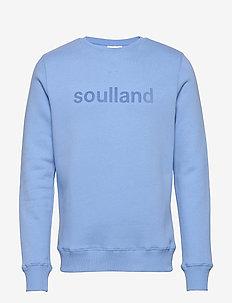 LOGIC WILLIE SWEAT W. FRONT FLOCK PRINT - bluzy i swetry - blue