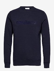 LOGIC WILLIE SWEAT W. FRONT FLOCK PRINT - sweatshirts - navy
