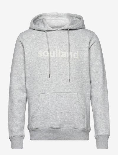 LOGIC GOOGIE HOODED SWEAT W. FRONT FLOCK PRINT - hoodies - grey melange