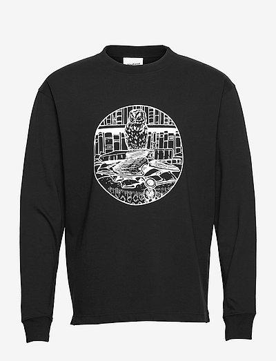 Owl long sleeved T-shirt - långärmade t-shirts - black