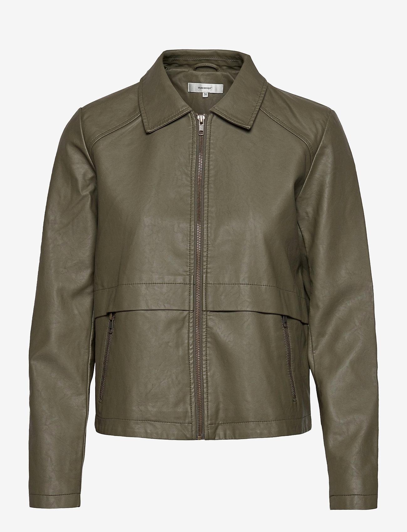 Soyaconcept - SC-GUNILLA - leather jackets - dark army - 0
