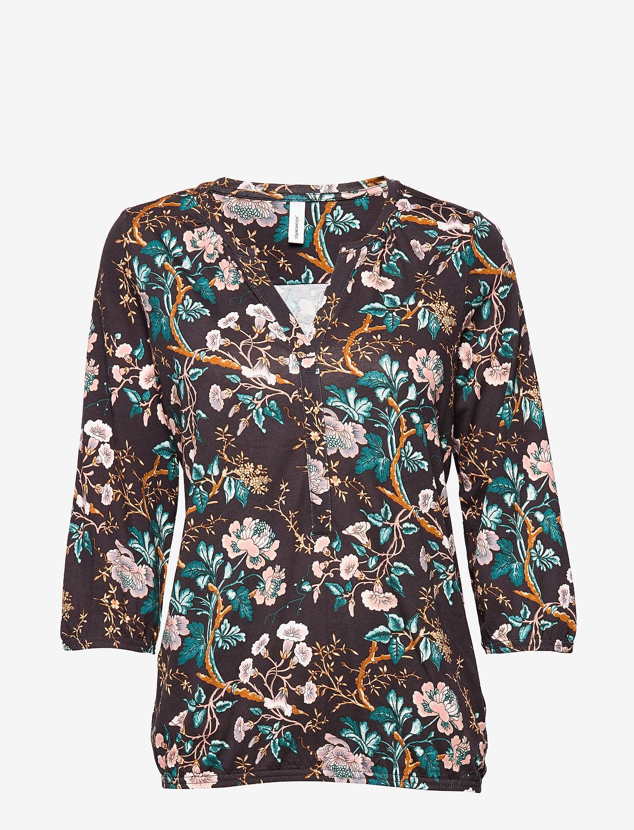 Soyaconcept - SC-FELICITY AOP - blouses à manches longues - dark earth combi