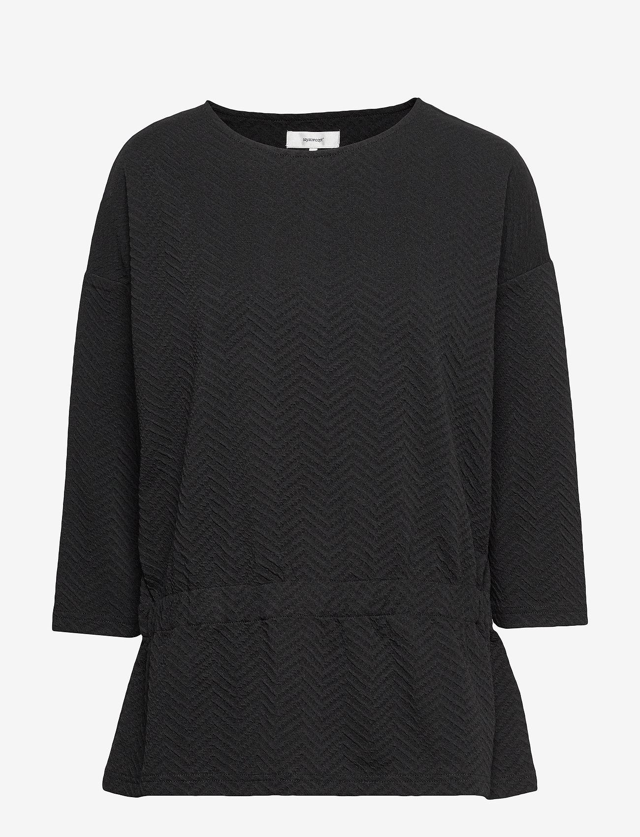 Soyaconcept - SC-SIHAM JACQUARD - t-shirts basiques - black