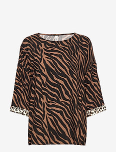 SC-ANABEL - blouses à manches longues - cocoa combi