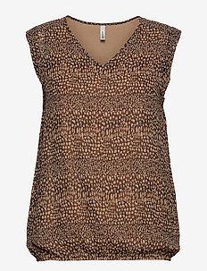 SC-KARMINE - blouses sans manches - dark caramel combi