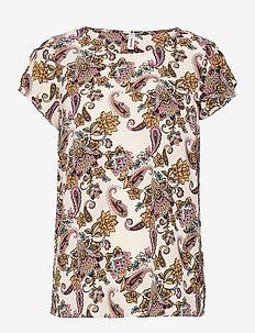 SC-SOLEA - short-sleeved blouses - cream combi