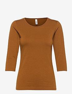 SC-PYLLE - long-sleeved tops - dark caramel