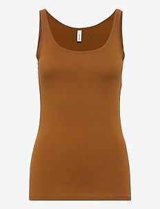 SC-PYLLE - sleeveless tops - dark caramel