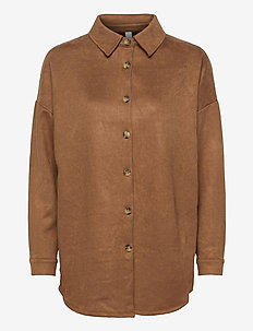 SC-LEANE - langærmede skjorter - suede brown