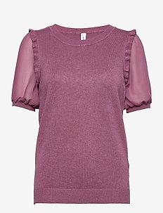SC-DOLLIE - kortärmade blusar - dark pink rose melange