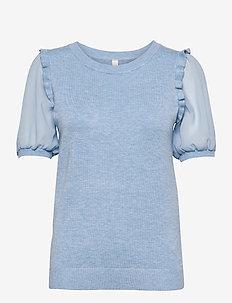 SC-DOLLIE - kortærmede bluser - powder blue melange