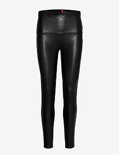 LEGGINGS - læderbukser - black