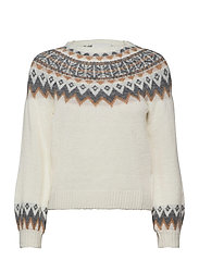 KENDRA JAQUARD PULLOVER - OFF WHITE