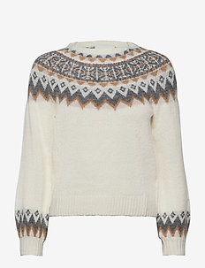 KENDRA JAQUARD PULLOVER - gensere - off white