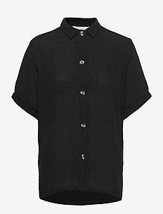 HARRIET SHIRT SS - short-sleeved shirts - black